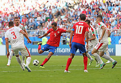 SAMARA, June 17, 2018  Celso Borges (3rd L) of Costa Rica shoots during a group E match between Costa Rica and Serbia at the 2018 FIFA World Cup in Samara, Russia, June 17, 2018. Serbia won 1-0. (Credit Image: © Fei Maohua/Xinhua via ZUMA Wire)