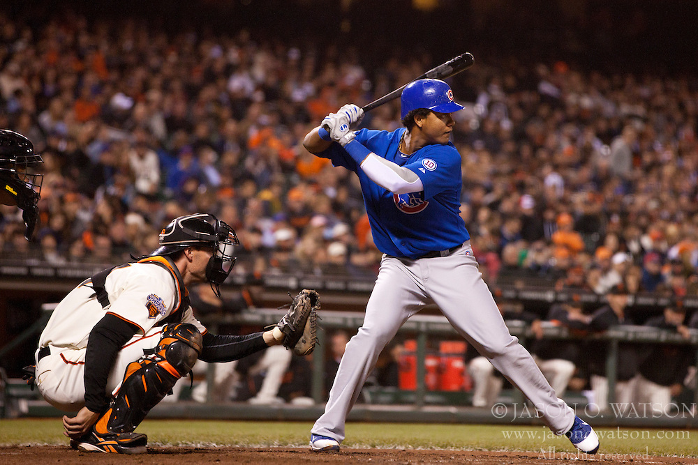 August 29, 2011; San Francisco, CA, USA;  Chicago Cubs shortstop Starlin Castro (13) at bat against the San Francisco Giants during the fifth inning at AT&T Park. Chicago defeated San Francisco 7-0.