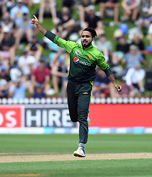 Pakistan's Faheem Ashraf celebrates dismissing New Zealand's Ross Taylor for 59 in the fifth one day International Cricket match, Basin Reserve, Wellington, New Zealand, Friday, January 19, 2018