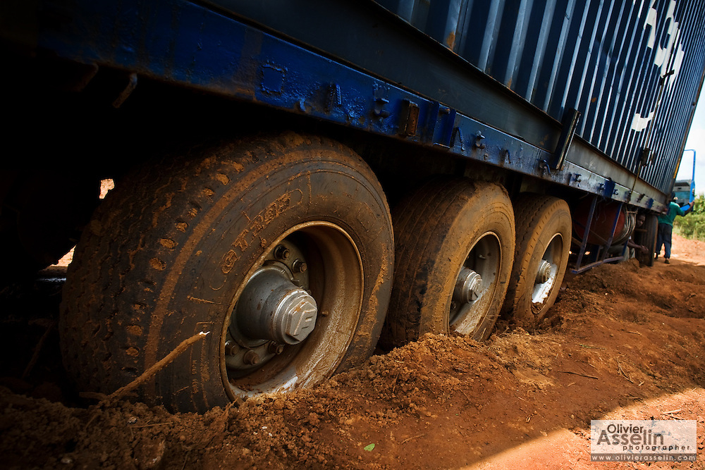 Wheels of a truck stuck in mud on a country road near Notse, Togo on Thursday October 2, 2008.