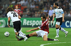 28.09.2011, Stadion Giuseppe Meazza, Mailand, ITA, UEFA CL, Gruppe H, ITA, UEFA CL, AC Mailand (ITA) vs FC Viktoria Pilsen (CZE), im Bild David LIMBERSKY Plzen,Zlatan IBRAHIMOVIC Milan.. // during the UEFA Champions League game, group H, AC Mailand (ITA) vs FC Viktoria Pilsen (CZE) at Giuseppe Meazza stadium in Mailand, Italy on 2011/09/28. EXPA Pictures © 2011, PhotoCredit: EXPA/ InsideFoto/ Alessandro Sabattini +++++ ATTENTION - FOR AUSTRIA/(AUT), SLOVENIA/(SLO), SERBIA/(SRB), CROATIA/(CRO), SWISS/(SUI) and SWEDEN/(SWE) CLIENT ONLY +++++