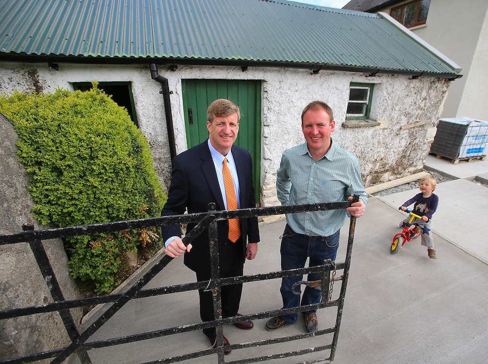 "26/05/2013. Free To Use Image. Patrick Kennedy launches official Kennedy Homestead website and brochure. Pictured at the Kennedy Ancestral Home, Kennedy Homestead, Dunganstown, New Ross, Co. Wexford is Patrick Kennedy, son of the late Senator Ted Kennedy and a former member of the United States House of Representatives with Patrick Grennan, third cousin of President John F. Kennedy, also in photo is Patrick Grennan's son Eanna. Picture: Patrick Browne<br />  <br /> 26 May 2013, New Ross, Wexford: Today marked the official launch of the Kennedy Homestead website and brochure with an American brunch to celebrate the occasion, attended by special guest Patrick Kennedy, son of the late Senator Ted Kennedy and himself a former member of the United States House of Representatives.<br />  <br /> The Kennedy Homestead is a new visitor attraction and exhibition centre, currently finishing construction, which is situated beside the original farm house at Dunganstown where President John F. Kennedy's great grandfather, also named Patrick Kennedy, was born and lived before he emigrated to the United States from the Quayside of New Ross in 1948.<br />  <br /> It was also the location for President John F. Kennedy's iconic visit to have tea with his Irish relatives during his state visit to Ireland in 1963. The interpretative exhibit explores the circumstances of Patrick Kennedy's departure from Ireland in 1848 and pieces together the story of the most famous Irish-American family through the 20th century and on to the present day. The new Kennedy Homestead Visitor Centre will be opened on the 22nd June next by Caroline Kennedy and Taoiseach Enda Kenny to mark the 50th Anniversary of President Kennedy's visit.<br />  <br /> Speaking at the launch of the Kennedy Homestead website and brochure, Patrick Kennedy stated, ""It is a truly celebratory occasion to be here today. We are delighted with the fantastic new Kennedy Homestead website and brochure. The Kennedy Homestead contains so many memories of our family's hist"