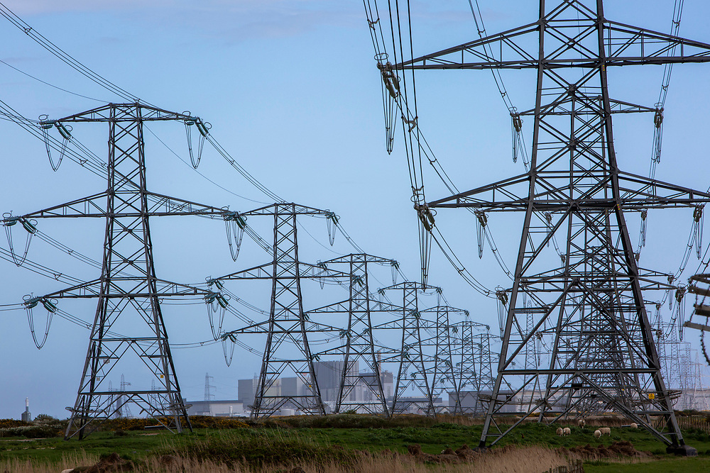 The first electrical pylons coming out of Dungeness B nuclear power station in the Romney Marsh, Kent, United Kingdom. The original power station, Dungeness A, closed down in 2006. (photo by Andrew Aitchison / In pictures via Getty Images)