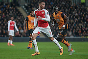 Kieran Gibbs (Arsenal) during the The FA Cup fifth round match between Hull City and Arsenal at the KC Stadium, Kingston upon Hull, England on 8 March 2016. Photo by Mark P Doherty.