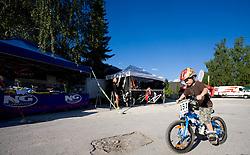 Child on bike at MTB Downhill European Championships, on June 13, 2009, at Kranjska Gora, Slovenia. (Photo by Vid Ponikvar / Sportida)