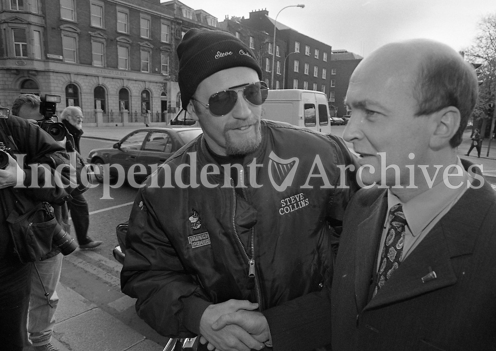 Stephen Collins at the Pre-Match Press Conferance at the Shelbourne Hotel, 22/11/1995 (Part of the Independent Newspapers Ireland/NLI Collection).