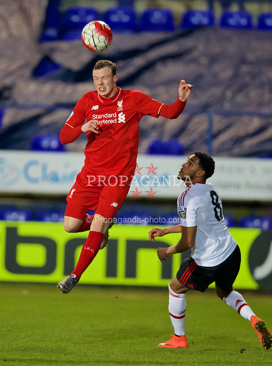 BIRKENHEAD, ENGLAND - Friday, March 11, 2016: Liverpool's Brad Smith in action against Manchester United during the Under-21 FA Premier League match at Prenton Park. (Pic by David Rawcliffe/Propaganda)
