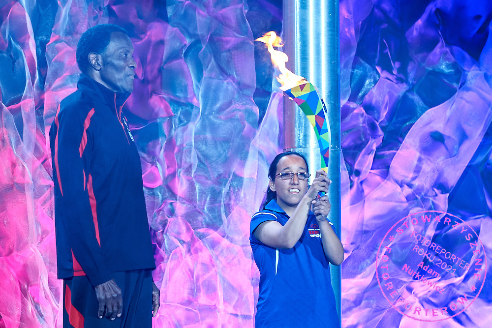 (L) Olympic Gold Medalist Rafer Johnson and (R) Destiny Sanchez during opening ceremony of the Special Olympics World Games Los Angeles 2015 at the Los Angeles Coliseum Stadium on July 25, 2015 in Los Angeles, USA.<br /> USA, Los Angeles, July 25, 2015<br /> <br /> Picture also available in RAW (NEF) or TIFF format on special request.<br /> <br /> For editorial use only. Any commercial or promotional use requires permission.<br /> <br /> Adam Nurkiewicz declares that he has no rights to the image of people at the photographs of his authorship.<br /> <br /> Mandatory credit:<br /> Photo by &copy; Adam Nurkiewicz / Mediasport