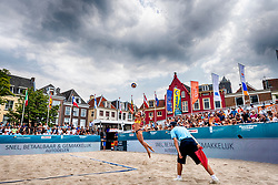 19-07-2018 NED: CEV DELA Beach Volleyball European Championship day 5<br /> Dark clouds over venue Neude but sun stay shining, <br /> Karla Borger #2 GER