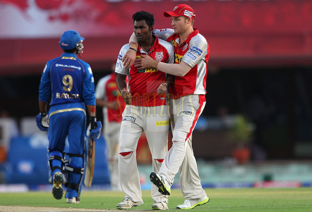 Parvinder Awana celebrates the wicket of Ambati Rayudu with David Miller during match 69 of the Pepsi Indian Premier League between The Kings XI Punjab and the Mumbai Indians held at the HPCA Stadium in Dharamsala, Himachal Pradesh, India on the on the 18th May 2013..Photo by Ron Gaunt-IPL-SPORTZPICS ..Use of this image is subject to the terms and conditions as outlined by the BCCI. These terms can be found by following this link:..http://www.sportzpics.co.za/image/I0000SoRagM2cIEc