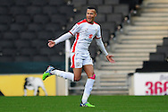 Dele Alli of MK Dons celebrates scoring his sides first goal to make the scoreline 1-0 during the Sky Bet League 1 match between Milton Keynes Dons and Colchester United at stadium:mk, Milton Keynes<br /> Picture by Richard Blaxall/Focus Images Ltd +44 7853 364624<br /> 29/11/2014