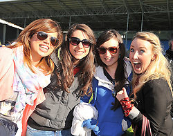 Sunny Smiles from Swinford fans Rebecca Treacy, Clare McCann, Mary Broderick and Darina Bourke pictured at McHale park during the Junior B Final replay.<br /> Pic Conor McKeown