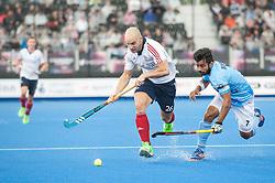 Great Britain's Nick Catlin. Great Britain v India - Hero Hockey Champions Trophy, Lee Valley Hockey & Tennis Centre, London, UK on 11 June 2016. Photo: Simon Parker