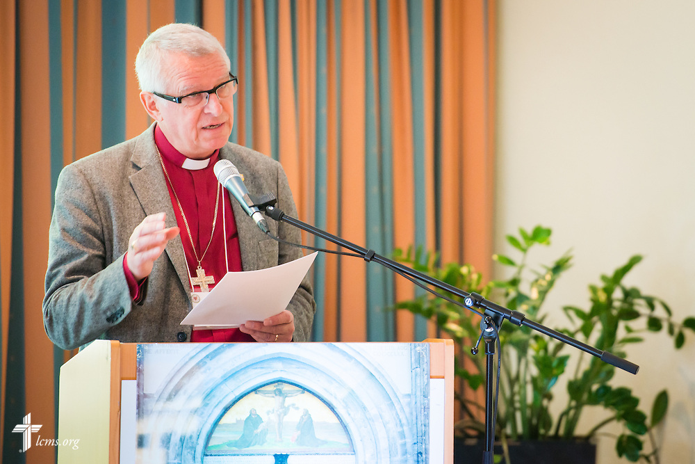 The Rev. Roland Gustafsson, the bishop presiding over the work of The Mission Province in Sweden, presents Thursday, May 7, 2015,  at the International Conference on Confessional Leadership in the 21st Century in Wittenberg, Germany. LCMS Communications/Erik M. Lunsford