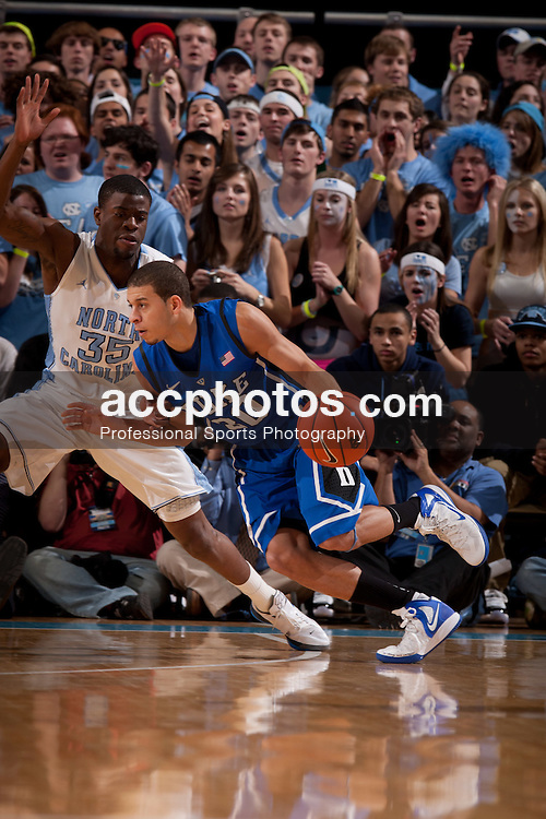 CHAPEL HILL, NC - FEBRUARY 08: Seth Curry #30 of the Duke Blue Devils dribbles the ball during a game against the North Carolina Tar Heels on February 08, 2012 at the Dean E. Smith Center in Chapel Hill, North Carolina. North Carolina lost 84-85. (Photo by Peyton Williams/UNC/Getty Images) *** Local Caption *** Seth Curry