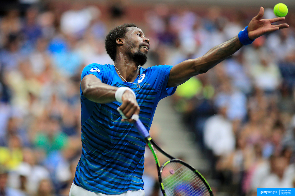 2016 U.S. Open - Day 12  Gael Monfils of France serving during his match against Novak Djokovic of Serbia in the Men's Singles Semifinal match on Arthur Ashe Stadium on day twelve of the 2016 US Open Tennis Tournament at the USTA Billie Jean King National Tennis Center on September 9, 2016 in Flushing, Queens, New York City.  (Photo by Tim Clayton/Corbis via Getty Images)