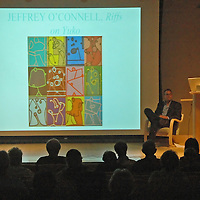 "Santa Monica College professor and artist Jeff O'Connel, discusses his art show during the ""Catch the Art Train at the Bergamot Station"" art forum at the Santa Monica Public Library on Wednesday."