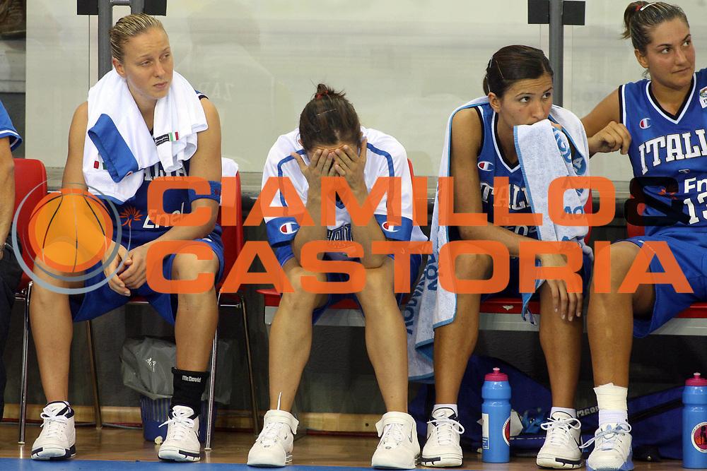 DESCRIZIONE : Ortona Italy Italia Eurobasket Women 2007 Bielorussia Italia Belarus Italy<br /> GIOCATORE :  Francesca Zara Valeria Zanoli Maria Chiara Franchini Manuela Zanon<br /> SQUADRA : Nazionale Italia<br /> EVENTO : Eurobasket Women 2007 Campionati Europei Donne 2007 <br /> GARA : Bielorussia Italia Belarus Italy<br /> DATA : 03/10/2007 <br /> CATEGORIA : delusione<br /> SPORT : Pallacanestro <br /> AUTORE : Agenzia Ciamillo-Castoria/E.Castoria<br /> Galleria : Eurobasket Women 2007 <br /> Fotonotizia : Ortona Italy Italia Eurobasket Women 2007 Bielorussia Italia Belarus Italy<br /> Predefinita :