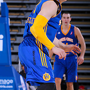 Santa Cruz Warriors Guard Milos Milisavljevic (18) seen on defense in the second half of a NBA D-league regular season basketball game between the Delaware 87ers and the Santa Cruz Warriors (Golden State Warriors) Tuesday, Jan. 13, 2015 at The Bob Carpenter Sports Convocation Center in Newark, DEL