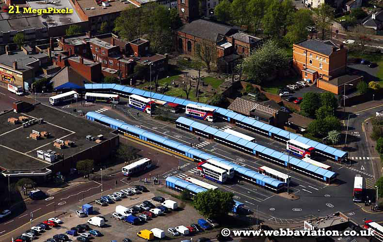 aerial photograph of  Dudley Bus Station West Midlands UK