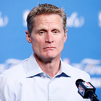 10 June 2016:  Golden State Warriors head coach Steve Kerr answers journalists prior to Game Four of the 2016 NBA Finals at the Quicken Loans Arena, Cleveland, Ohio, USA.