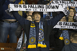 May 13, 2017 - Washington, District Of Columbia, USA - Philadelphia Union supporters chant, ''this place sucks'' and hold up, ''RFK Is Falling Down'' scarves. (Credit Image: © Alex Edelman via ZUMA Wire)