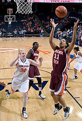 Virginia Tech's Amber Hall (31) grabs a rebound against Virginia.  The Virginia Tech Hokies overcame a 14 point Virginia lead to beat the Cavaliers 60-58 on their home court at the John Paul Jones Arena in Charlottesville, VA.