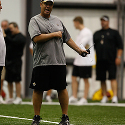 July 30, 2010; Metairie, LA, USA; New Orleans Saints defensive coordinator Gregg Williams during a training camp practice at the New Orleans Saints indoor practice facility. Mandatory Credit: Derick E. Hingle