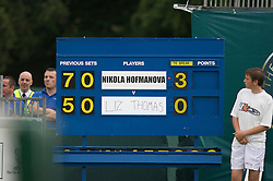Liverpool, England - Tuesday, June 12, 2007: The scoreboard on day one of the Liverpool International Tennis Tournament at Calderstones Park. For more information visit www.liverpooltennis.co.uk. (Pic by David Rawcliffe/Propaganda)