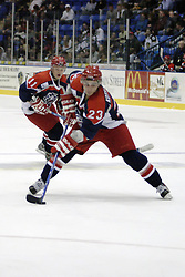 11 November 2006: Tommy Kotsopoulos sets for a shot on goal.&#xD;The Elmira Jackals met the Bloomington PrairieThunder at the U.S. Cellular Coliseum in Bloomington Illinois.<br />