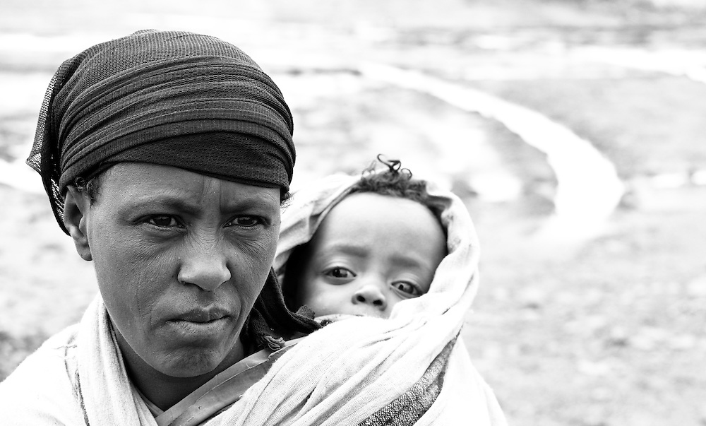 Woman and child in Mehal Meda on the Guassa Plateau, Ethiopian Highlands