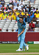 Chris Woakes of England bowling during the ICC Cricket World Cup 2019 semi final match between Australia and England at Edgbaston, Birmingham, United Kingdom on 11 July 2019.