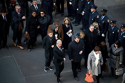 Fashion designer Calvin Klein attend the funeral..----.Thu Jan 5, 2011: Friends and family gather at St. Thomas Episcopal Church on Fifth Avenue in Manhattan for the funeral service of 9-year old Lilly and 7-year-old twins Grace and Sarah Badger who died - along with their maternal grandparents - in a Christmas day fire in Stamford, CT. Credit: Rob Bennett for The Wall Street Journal