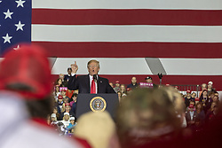 April 28, 2018 - Macomb, Michigan, U.S. - President Donald Trump held a campaign rally in Macomb County, Michigan. Trump skipped the annual White House Correspondents' Association dinner to travel to Michigan. (Credit Image: © Jim West via ZUMA Wire)