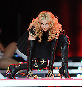 INDIANAPOLIS, IN - FEBRUARY 5: Singer Madonna performs on the Bridgestone Super Bowl XLVI Halftime Show at Lucas Oil Stadium on February 5, 2012 in Indianapolis, Indiana. (Photo by Frank Micelotta/PictureGroup)