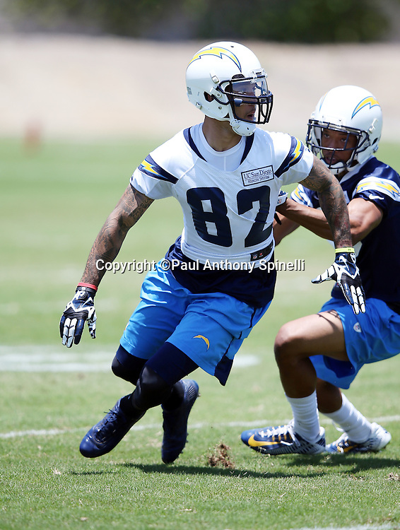 San Diego Chargers wide receiver Austin Pettis (82) goes out for a pass during the San Diego Chargers Spring 2015 NFL minicamp practice held on Tuesday, June 16, 2015 in San Diego. (©Paul Anthony Spinelli)