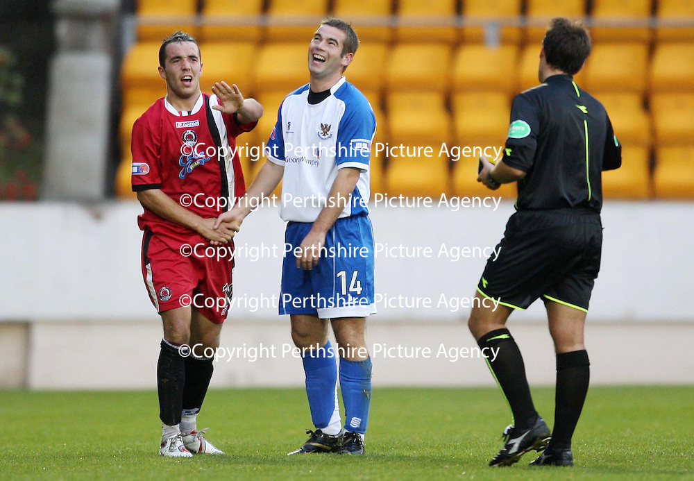 St Johnstone v Clyde....27.10.07<br /> Dougie Imrie tries to stop Ref Euan Norris from issuing a yellow card to Peter MacDonald after he was fouled.<br /> Picture by Graeme Hart.<br /> Copyright Perthshire Picture Agency<br /> Tel: 01738 623350  Mobile: 07990 594431