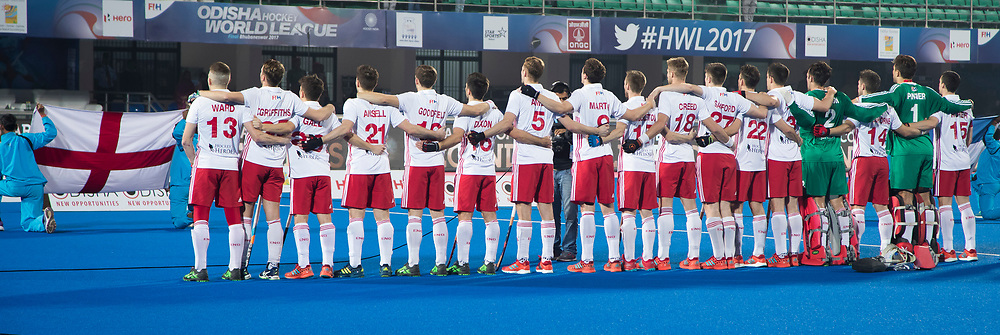 Odisha Men's Hockey World League Final Bhubaneswar 2017<br /> Match id:14<br /> England v Argentina , Quater Final<br /> Foto:  line up England <br /> WSP COPYRIGHT KOEN SUYK
