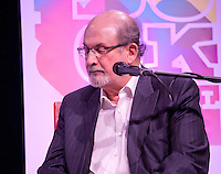 Writer Salman Rushdie discusses The Global Novel at the Dalkey Book Festival, Dalkey Town Hall, Dalkey, Dublin, Ireland. Sunday 22nd June 2014.
