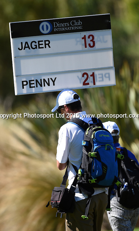 Matt Jager on the leader board during round three of the 2015 BMW New Zealand Golf Open, The Hills Golf course, Arrowtown, New Zealand. Saturday 14 March 2015. Copyright Photo: Andrew Cornaga / www.photosport.co.nz