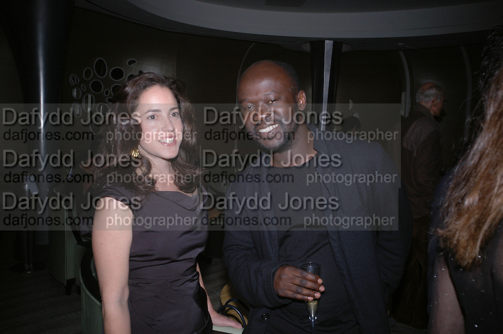 Hilary Hatch and David Adjaye. Cartier Dinner hosted by Arnaud Bamberger, Matthew Slotover and Amanda Sharp to celebrate the artist featured in Frieze projects 2005. Nobu Berkeley St..  London. 21 October 2005. ONE TIME USE ONLY - DO NOT ARCHIVE © Copyright Photograph by Dafydd Jones 66 Stockwell Park Rd. London SW9 0DA Tel 020 7733 0108 www.dafjones.com