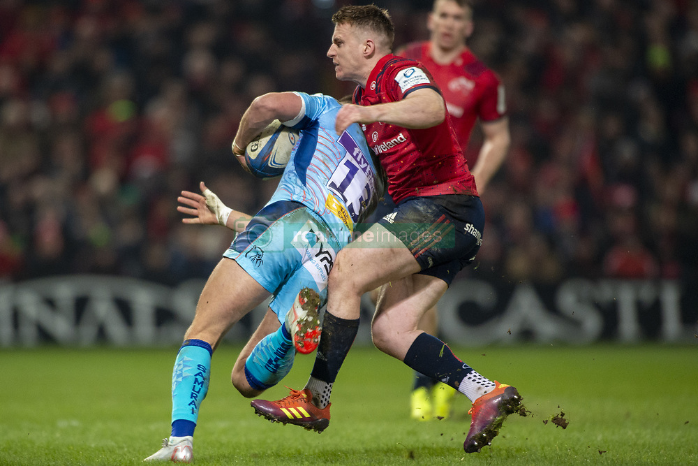 January 19, 2019 - Limerick, Ireland - Henry Slade of Exeter tackled by Rory Scannell of Munster during the Heineken Champions Cup match between Munster Rugby and Exeter Chiefs at Thomond Park in Limerick, Ireland on January 19, 2019  (Credit Image: © Andrew Surma/NurPhoto via ZUMA Press)
