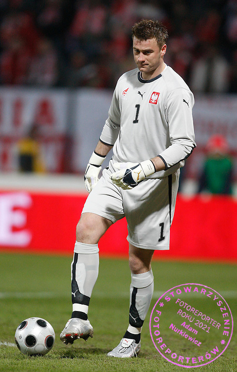 KRAKOW 26/03/2008.INTERNATIONAL FRIENDLY.POLAND v USA.GOALKEEPER ARTUR BORUC LOOKS DEJECTED ..FOT. PIOTR HAWALEJ / WROFOTO