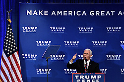 MIKE PENCE, Vice-presidential candidate for the Republican Party delivers a health care policy speech at an event with Republican presidential candidate Donald Trump and former candidate Ben Carson, in King of Prussia, PA., in the Philadelphia Suburbs, on November 1, 2016