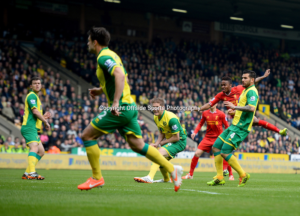 20 April 2014 - Barclays Premier League - Norwich City v Liverpool - Raheem Sterling of Liverpool scores the opening goal - Photo: Marc Atkins / Offside.