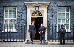 © Licensed to London News Pictures. 15/01/2019. London UK. Jeremy Hunt & David Mundell leave number 10 after this morning's cabinet meeting ahead of todays vote on the Theresa May's Brexit deal. Photo credit: Andrew McCaren/LNP