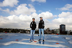 (L to R): Sergio Perez (MEX) Sahara Force India F1 and team mate Nico Hulkenberg (GER) Sahara Force India F1 on a rooftop helipad.<br /> 27.10.2016. Formula 1 World Championship, Rd 19, Mexican Grand Prix, Mexico City, Mexico, Preparation Day.<br />  <br /> / 271016 / action press