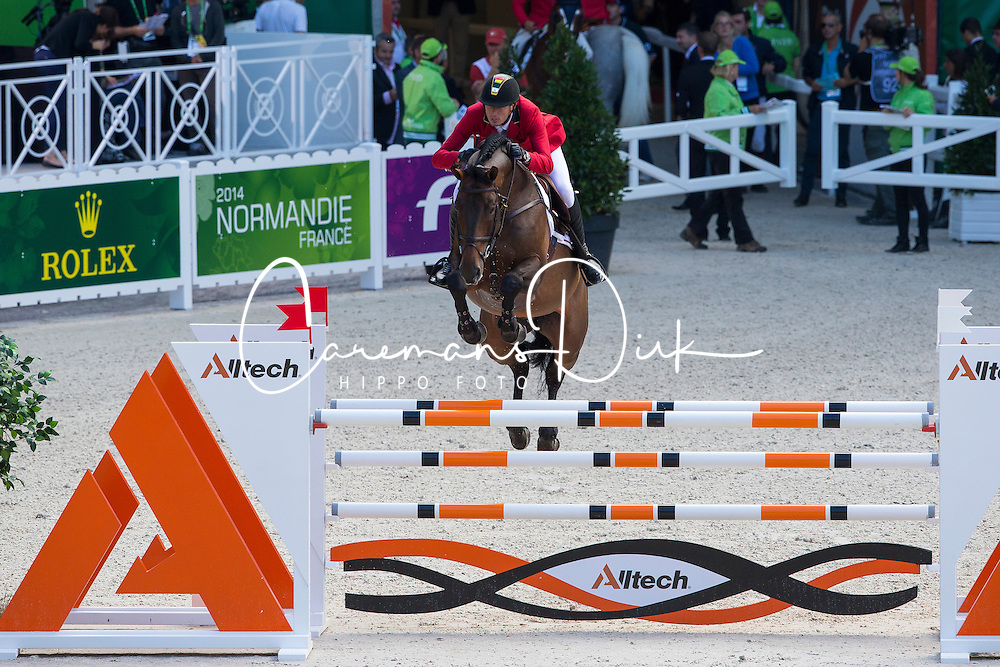 Gregory Wathelet, (BEL), Conrad De Hus - Team &amp; Individual Competition Jumping Speed - Alltech FEI World Equestrian Games&trade; 2014 - Normandy, France.<br /> &copy; Hippo Foto Team - Leanjo De Koster<br /> 02-09-14