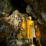 Main Buddha alter at Phu Toei (Tham Phu Toei) in Kanchanaburi, Thailand.
