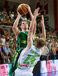 Vytenis Cizauskas of Lithuania vs Miha Lapornik of Slovenia during basketball match between National teams of Slovenia and Lithuania in First Round of U20 Men European Championship Slovenia 2012, on July 14, 2012 in Domzale, Slovenia. Slovenia defeated Lithuania 87-81. (Photo by Vid Ponikvar / Sportida.com)